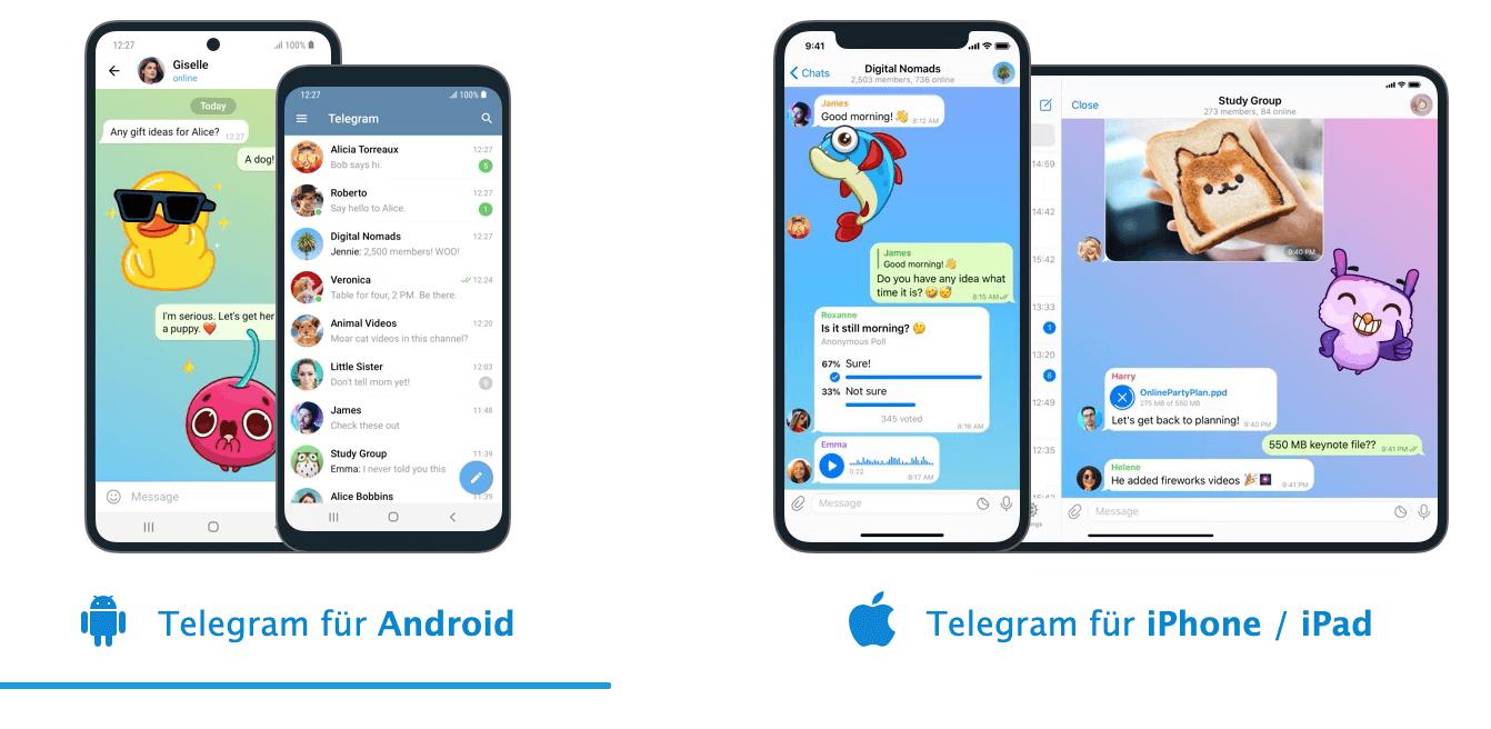 Telegram auf ipad und iphone